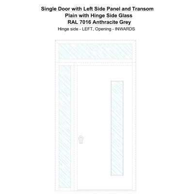 Sd1spt(left) Plain With Hinge Side Glass Ral 7016 Anthracite Grey Security Door