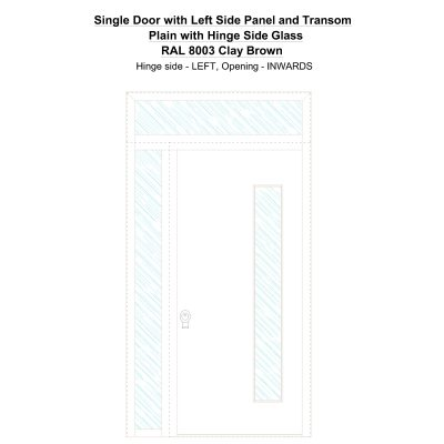 Sd1spt(left) Plain With Hinge Side Glass Ral 8003 Clay Brown Security Door