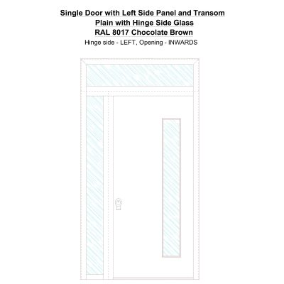 Sd1spt(left) Plain With Hinge Side Glass Ral 8017 Chocolate Brown Security Door