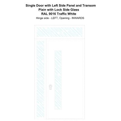 Sd1spt(left) Plain With Lock Side Ral 9016 Traffic White Security Door