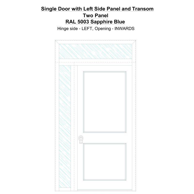 Sd1spt(left) Two Panel Ral 5003 Sapphire Blue Security Door