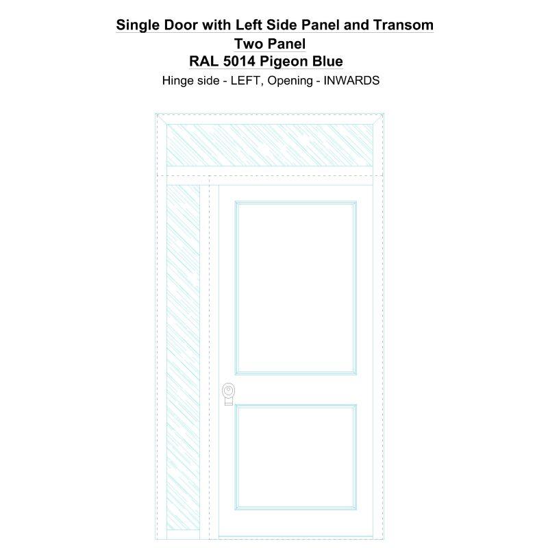 Sd1spt(left) Two Panel Ral 5014 Pigeon Blue Security Door