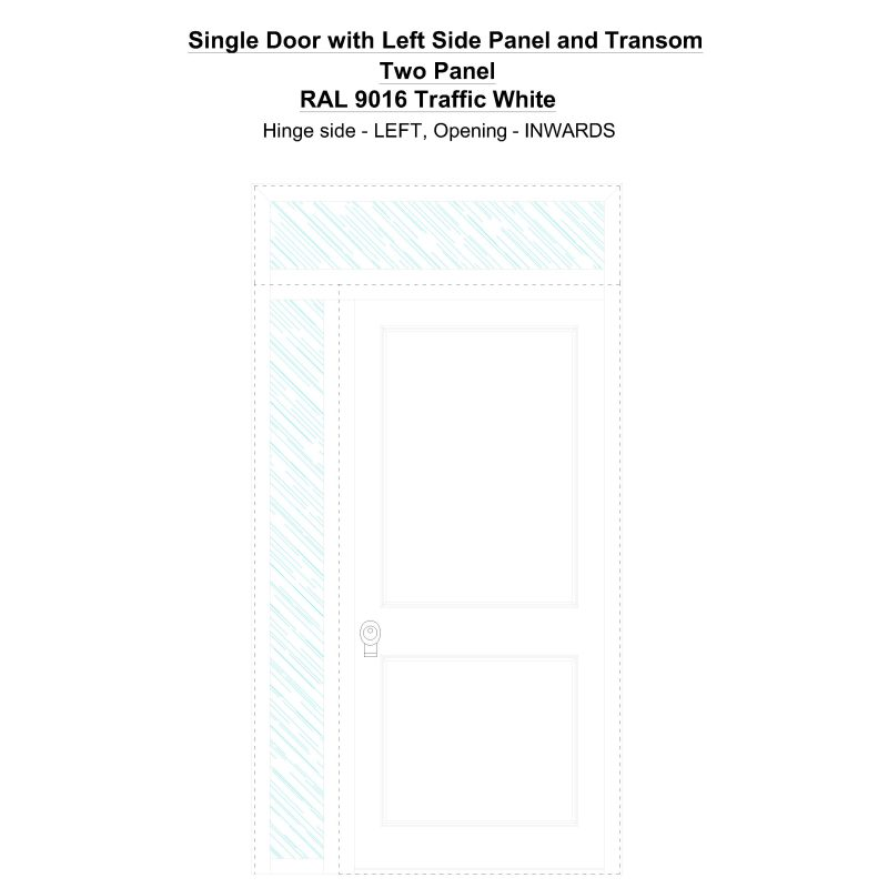 Sd1spt(left) Two Panel Ral 9016 Traffic White Security Door