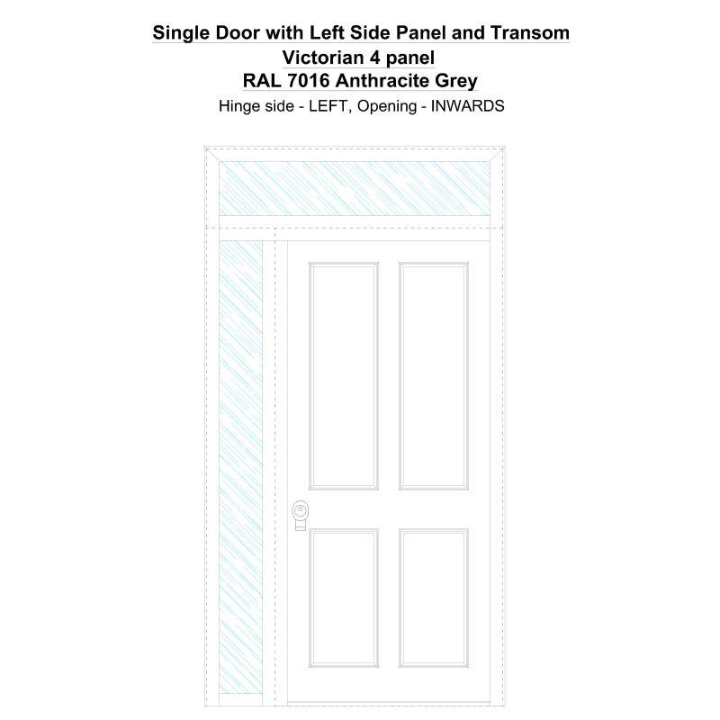 Sd1spt(left) Victorian 4 Panel Ral 7016 Anthracite Grey Security Door
