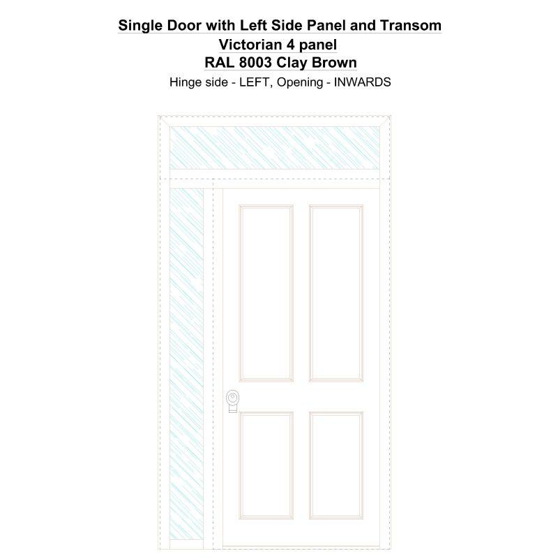 Sd1spt(left) Victorian 4 Panel Ral 8003 Clay Brown Security Door
