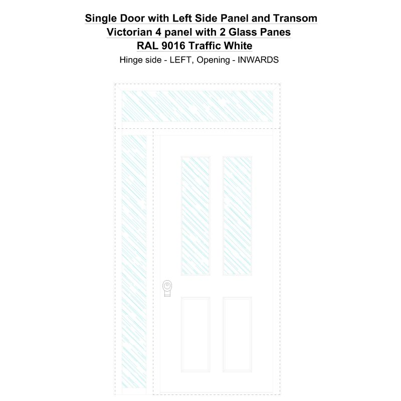 Sd1spt(left) Victorian 4 Panel With 2 Glass Panes Ral 9016 Traffic White Security Door