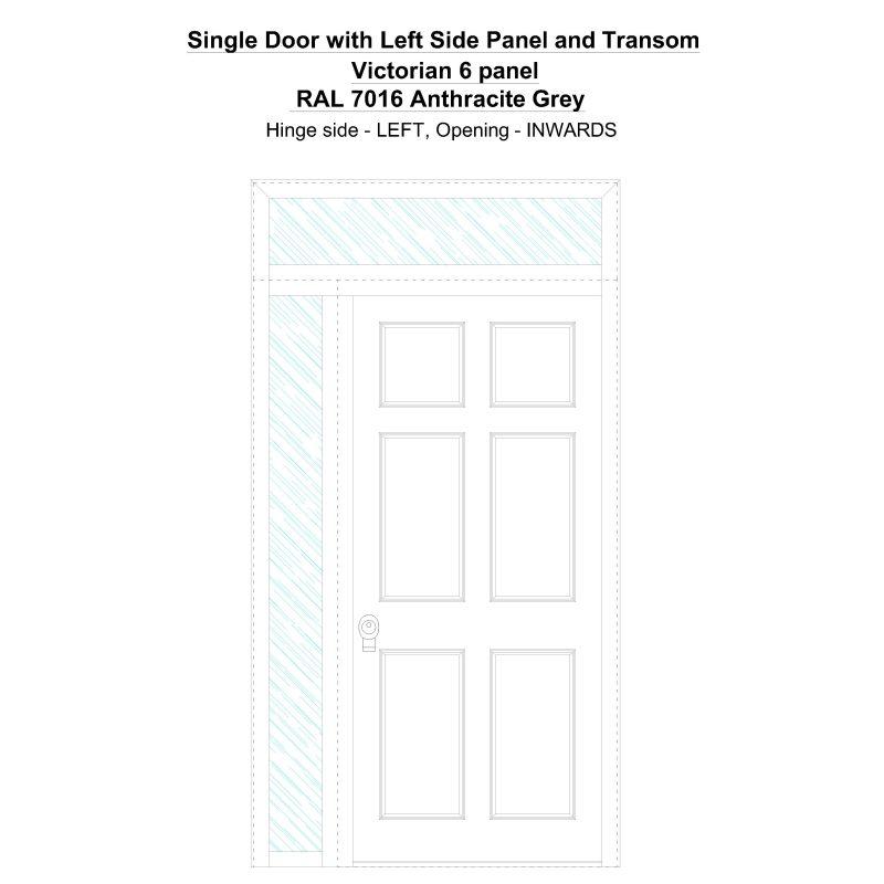 Sd1spt(left) Victorian 6 Panel Ral 7016 Anthracite Grey Security Door