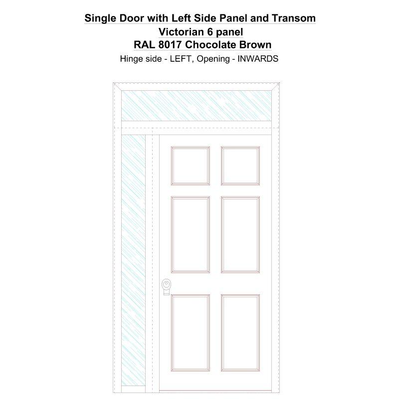 Sd1spt(left) Victorian 6 Panel Ral 8017 Chocolate Brown Security Door