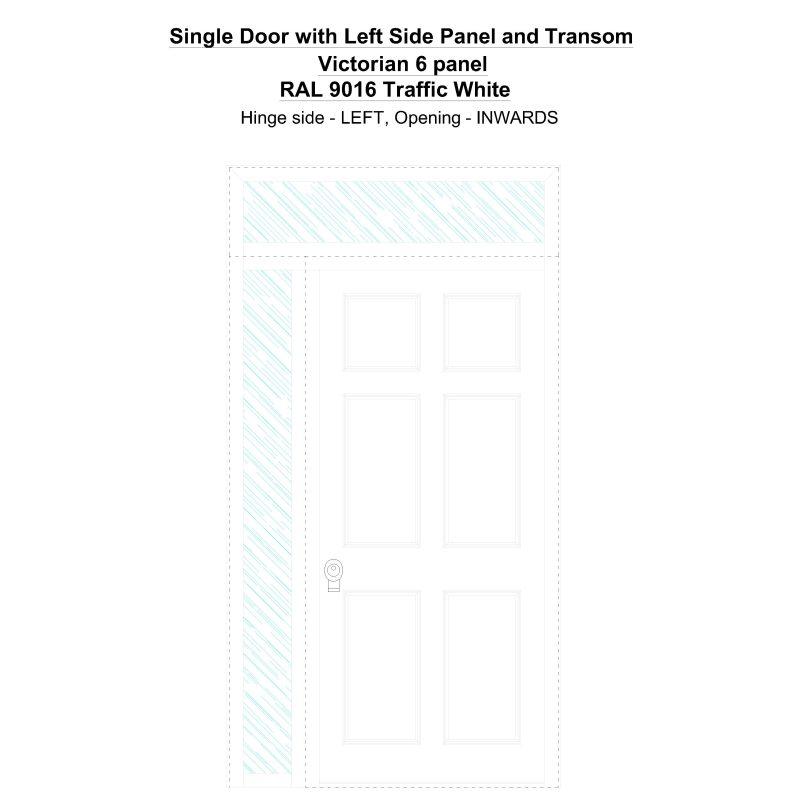 Sd1spt(left) Victorian 6 Panel Ral 9016 Traffic White Security Door