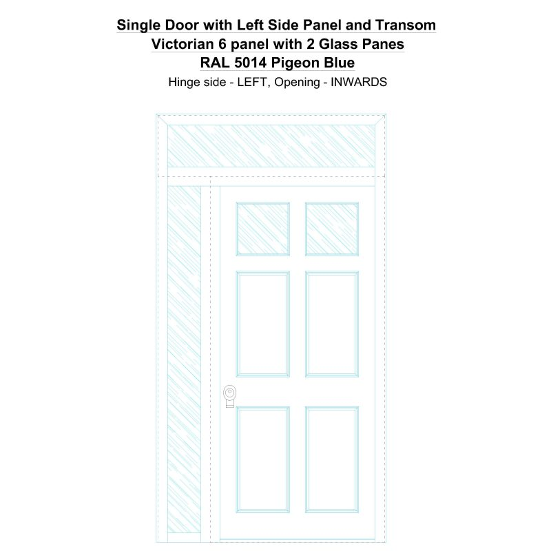 Sd1spt(left) Victorian 6 Panel With 2 Glass Panes Ral 5014 Pigeon Blue Security Door