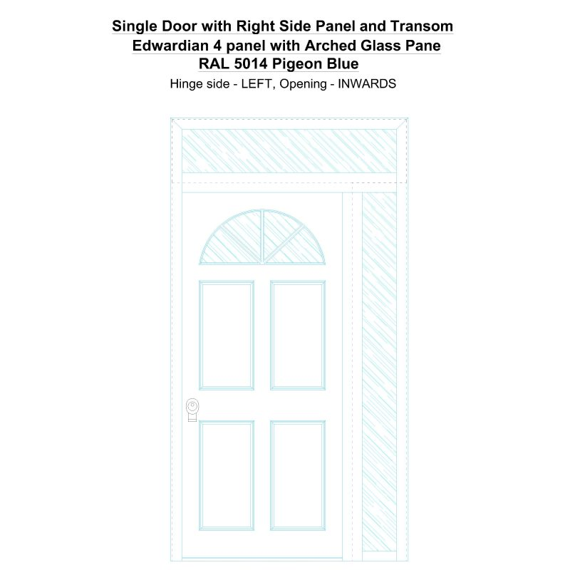 Sd1spt(right) Edwardian 4 Panel With Arched Glass Pane Ral 5014 Pigeon Blue Security Door