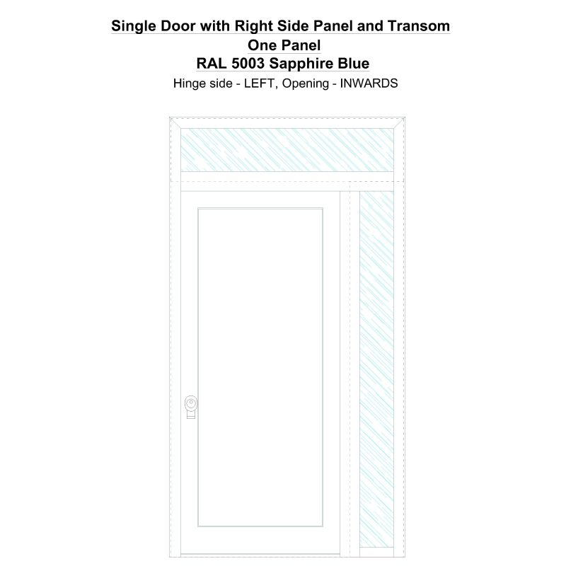 Sd1spt(right) One Panel Ral 5003 Sapphire Blue Security Door