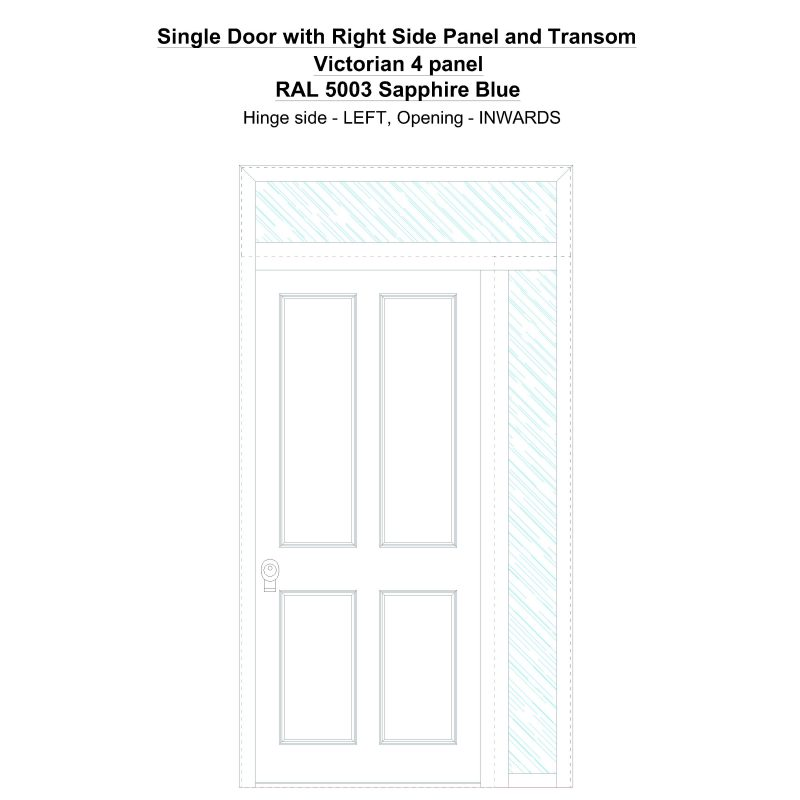 Sd1spt(right) Victorian 4 Panel Ral 5003 Sapphire Blue Security Door