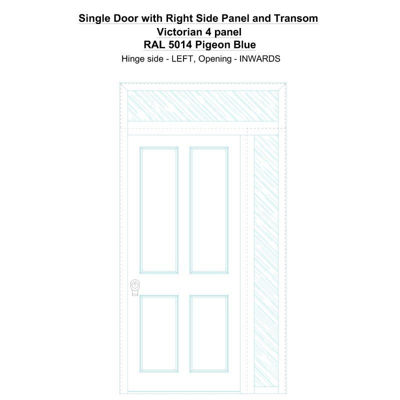 Sd1spt(right) Victorian 4 Panel Ral 5014 Pigeon Blue Security Door