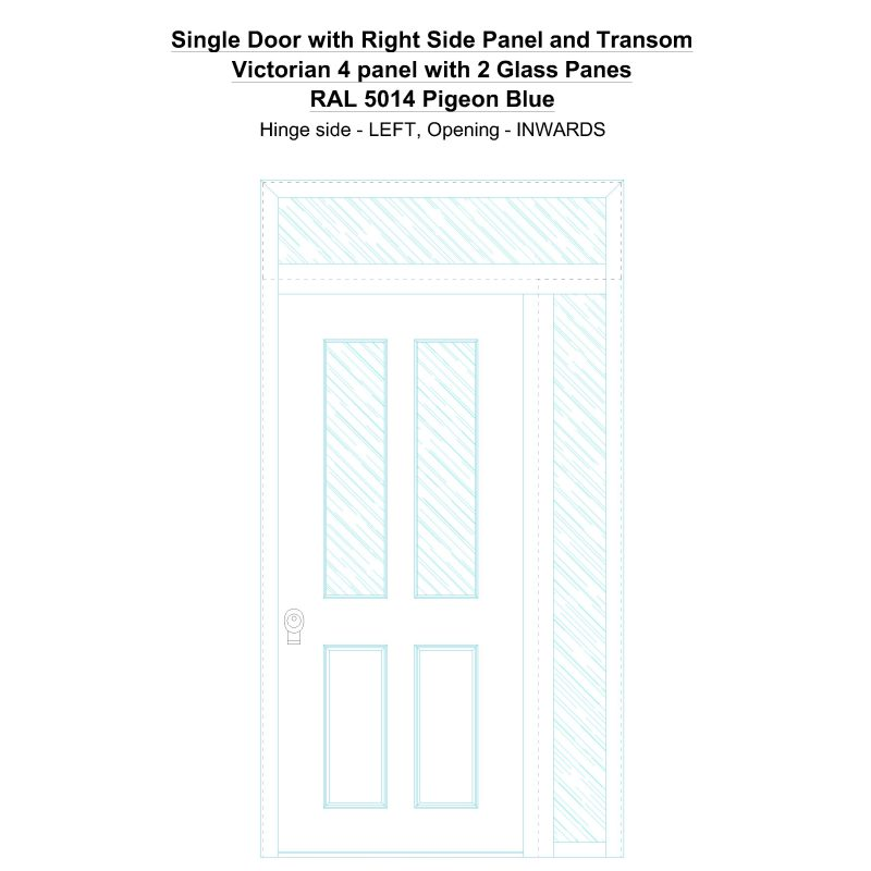 Sd1spt(right) Victorian 4 Panel With 2 Glass Panes Ral 5014 Pigeon Blue Security Door
