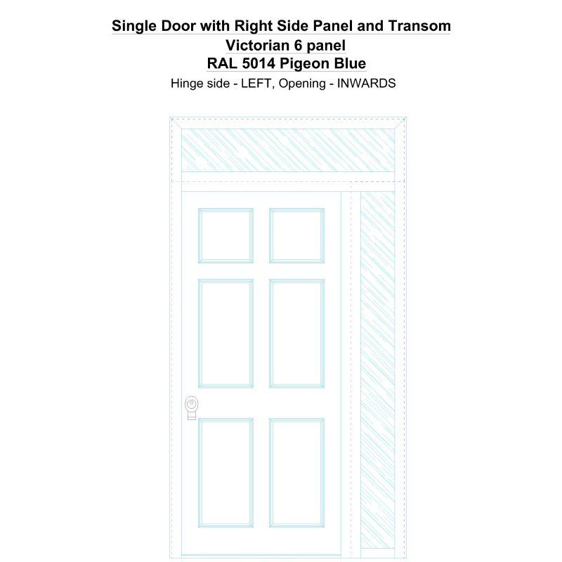 Sd1spt(right) Victorian 6 Panel Ral 5014 Pigeon Blue Security Door