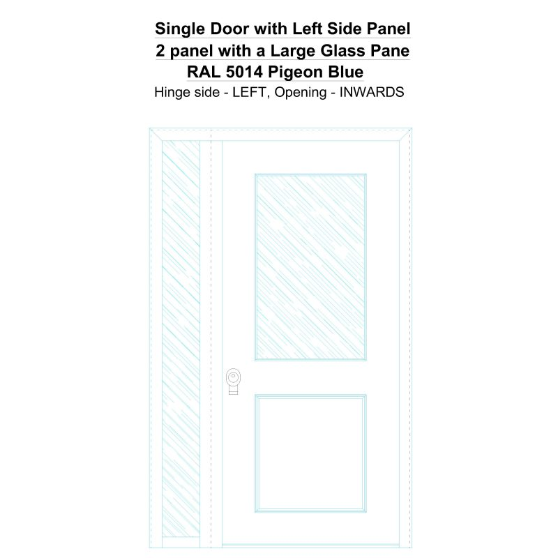 Sd1sp(left) 2 Panel With A Large Glass Pane Ral 5014 Pigeon Blue Security Door