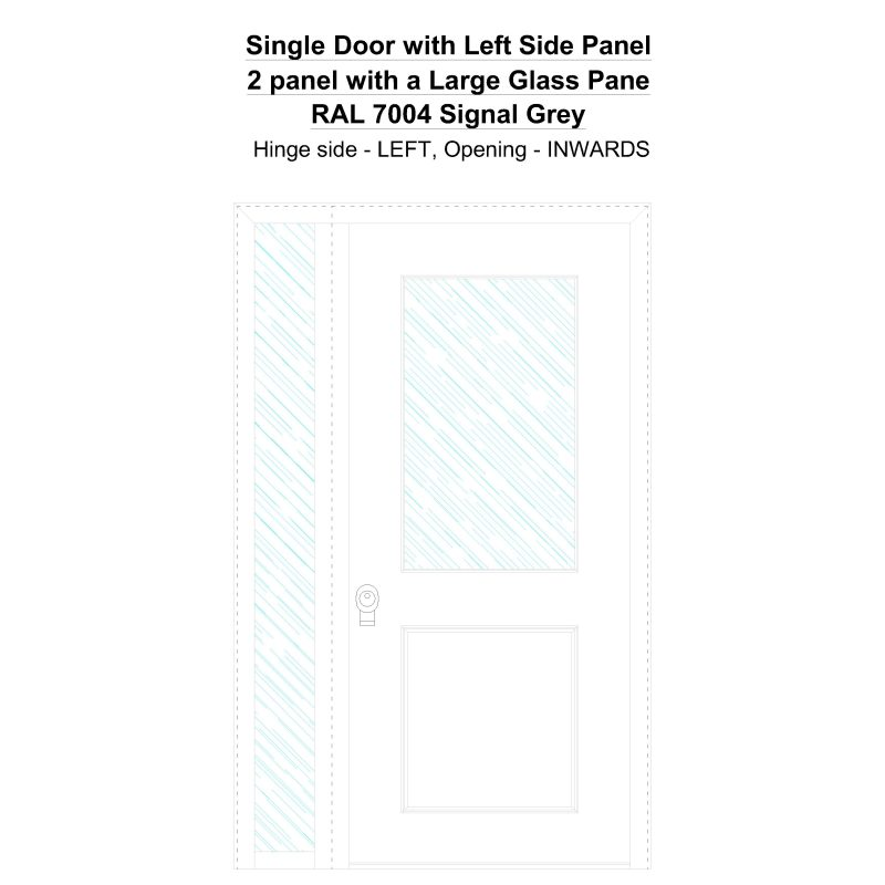 Sd1sp(left) 2 Panel With A Large Glass Pane Ral 7004 Signal Grey Security Door
