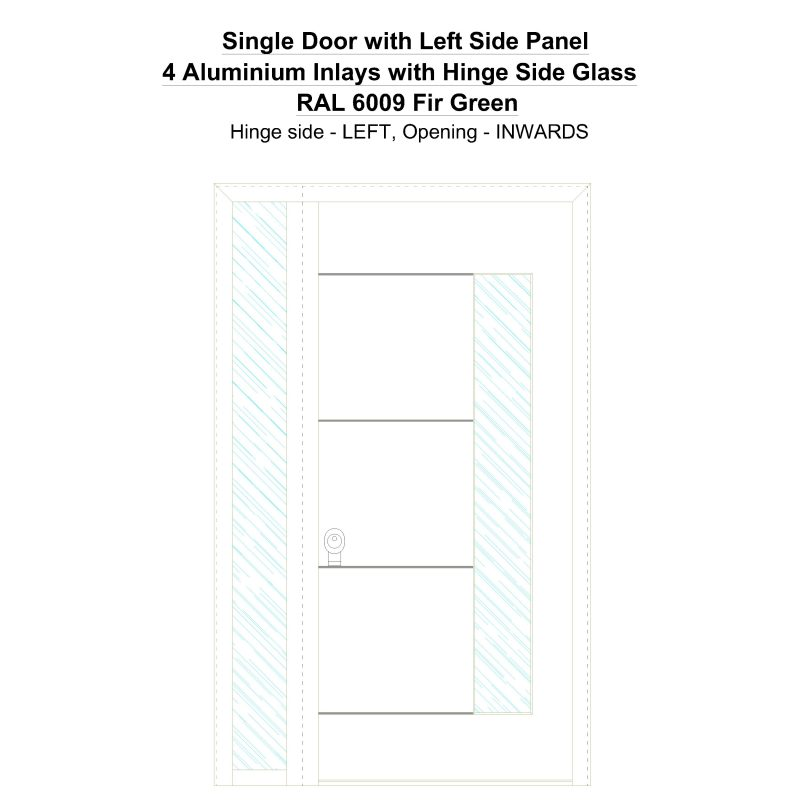 Sd1sp(left) 4 Aluminium Inlays With Hinge Side Glass Ral 6009 Fir Green Security Door