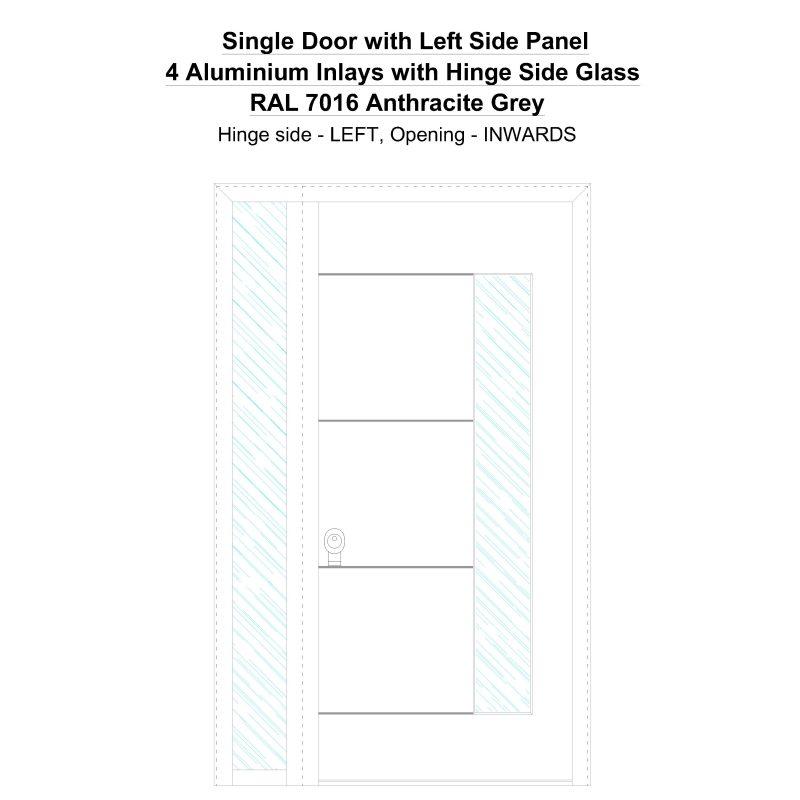 Sd1sp(left) 4 Aluminium Inlays With Hinge Side Glass Ral 7016 Anthracite Grey Security Door