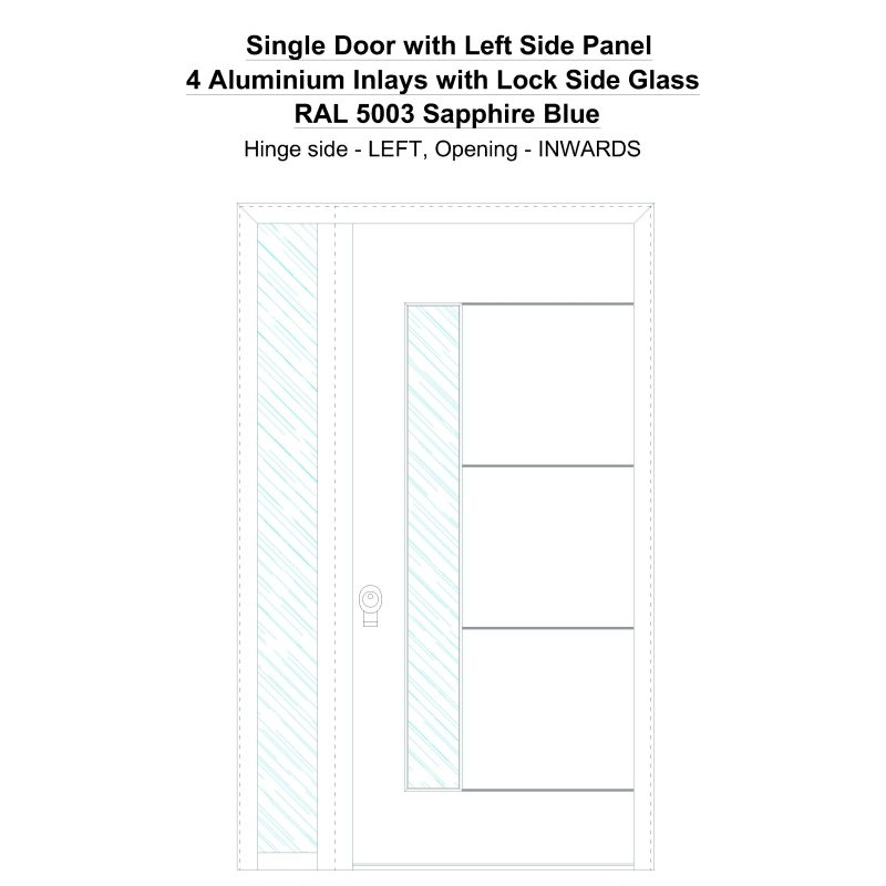 Sd1sp(left) 4 Aluminium Inlays With Lock Side Glass Ral 5003 Sapphire Blue Security Door