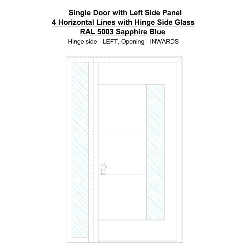 Sd1sp(left) 4 Horizontal Lines With Hinge Side Glass Ral 5003 Sapphire Blue Security Door