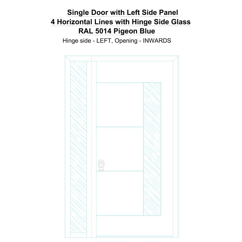 Sd1sp(left) 4 Horizontal Lines With Hinge Side Glass Ral 5014 Pigeon Blue Security Door