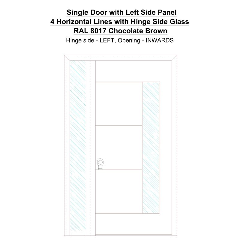 Sd1sp(left) 4 Horizontal Lines With Hinge Side Glass Ral 8017 Chocolate Brown Security Door