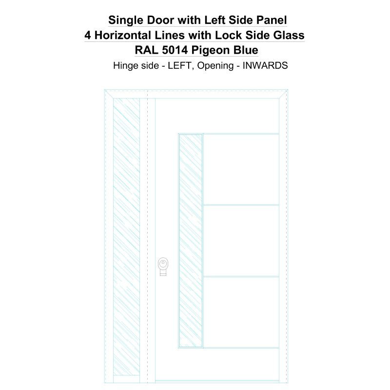 Sd1sp(left) 4 Horizontal Lines With Lock Side Glass Ral 5014 Pigeon Blue Security Door