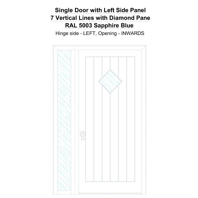 Sd1sp(left) 7 Vertical Lines With Diamond Pane Ral 5003 Sapphire Blue Security Door