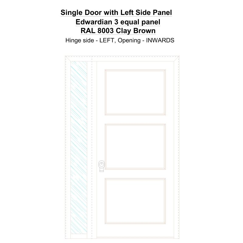 Sd1sp(left) Edwardian 3 Equal Panel Ral 8003 Clay Brown Security Door