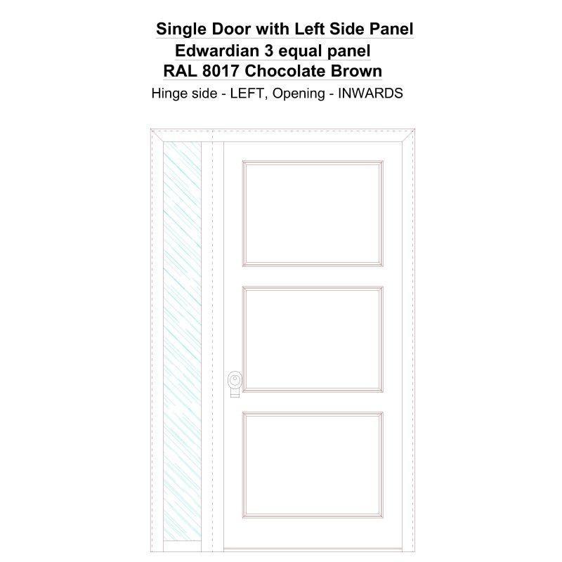 Sd1sp(left) Edwardian 3 Equal Panel Ral 8017 Chocolate Brown Security Door