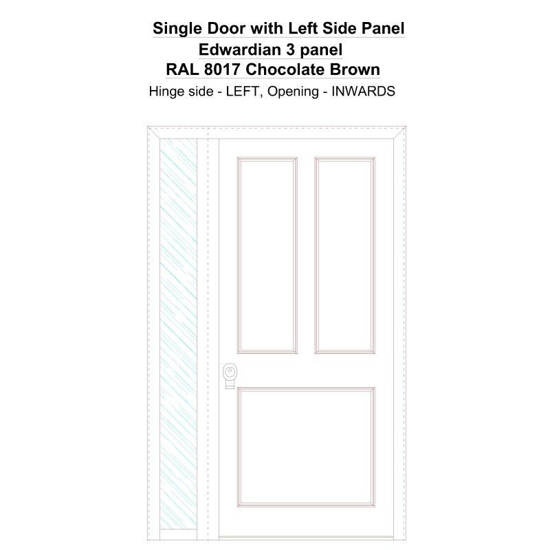 Sd1sp(left) Edwardian 3 Panel Ral 8017 Chocolate Brown Security Door