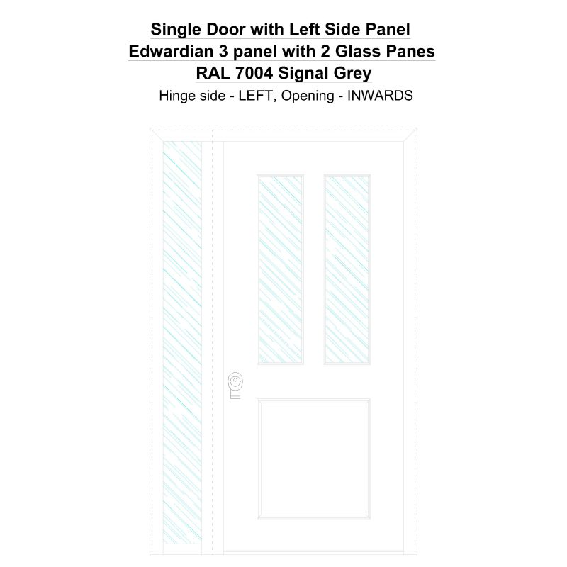 Sd1sp(left) Edwardian 3 Panel With 2 Glass Panes Ral 7004 Signal Grey Security Door