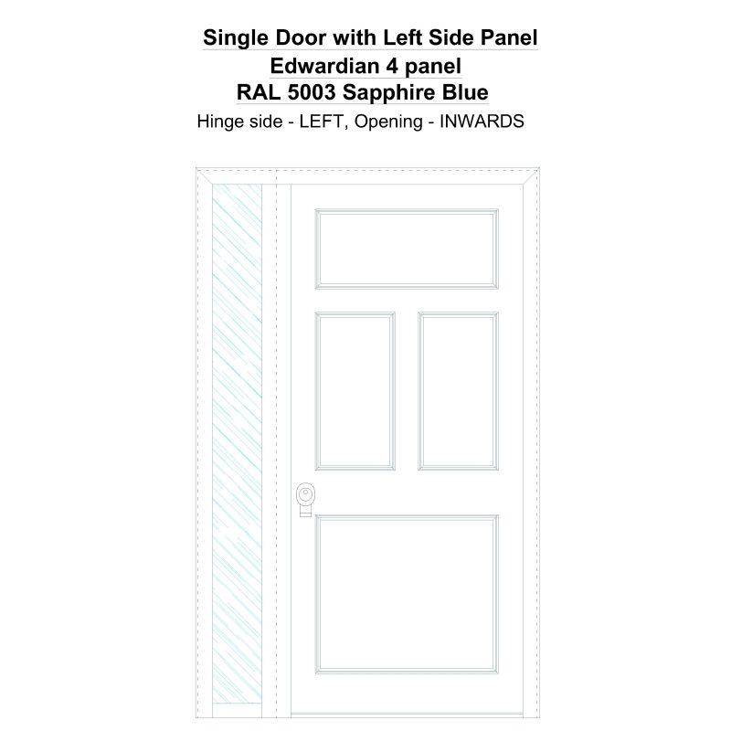 Sd1sp(left) Edwardian 4 Panel Ral 5003 Sapphire Blue Security Door