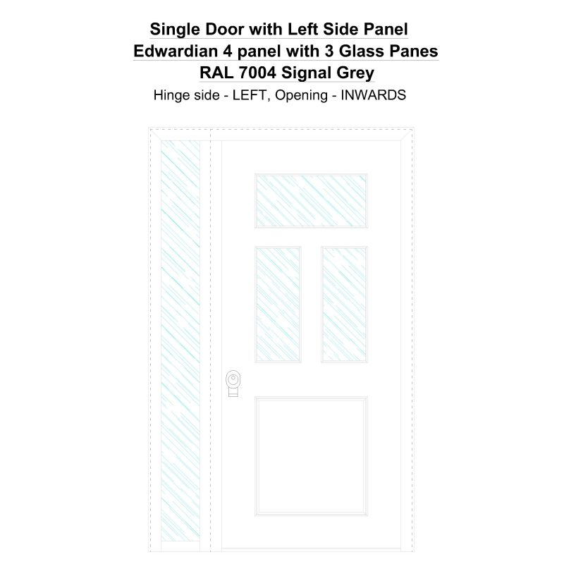 Sd1sp(left) Edwardian 4 Panel With 3 Glass Panes Ral 7004 Signal Grey Security Door