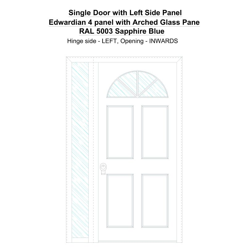 Sd1sp(left) Edwardian 4 Panel With Arched Glass Pane Ral 5003 Sapphire Blue Security Door