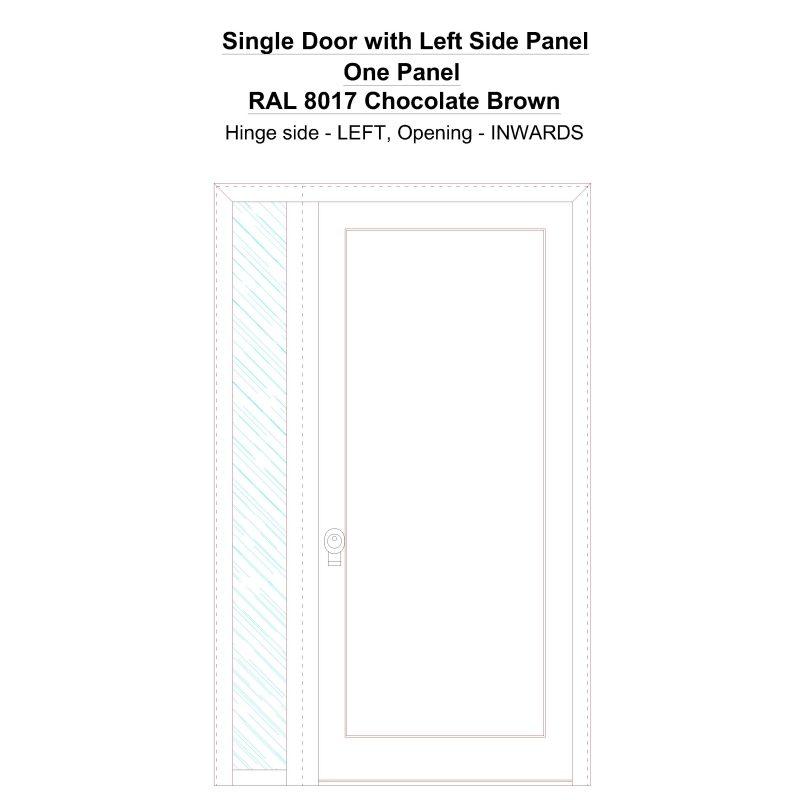 Sd1sp(left) One Panel Ral 8017 Chocolate Brown Security Door