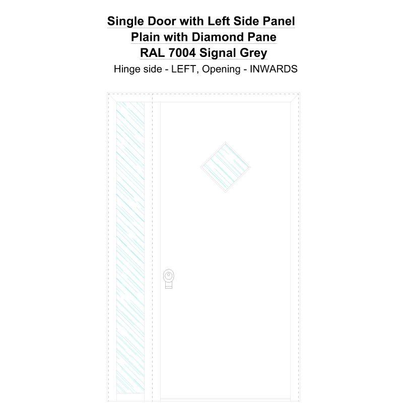 Sd1sp(left) Plain With Diamond Pane Ral 7004 Signal Grey Security Door