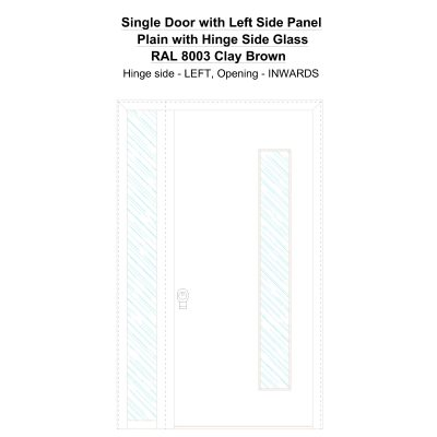 Sd1sp(left) Plain With Hinge Side Glass Ral 8003 Clay Brown Security Door