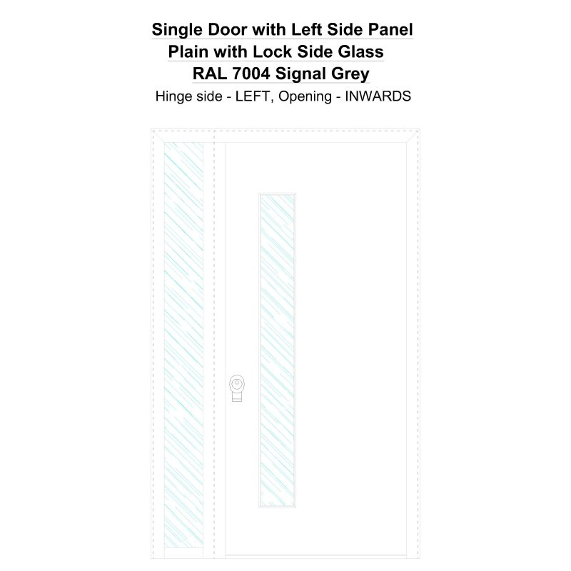 Sd1sp(left) Plain With Lock Side Ral 7004 Signal Grey Security Door