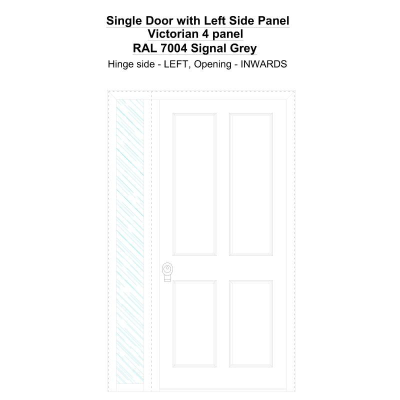 Sd1sp(left) Victorian 4 Panel Ral 7004 Signal Grey Security Door