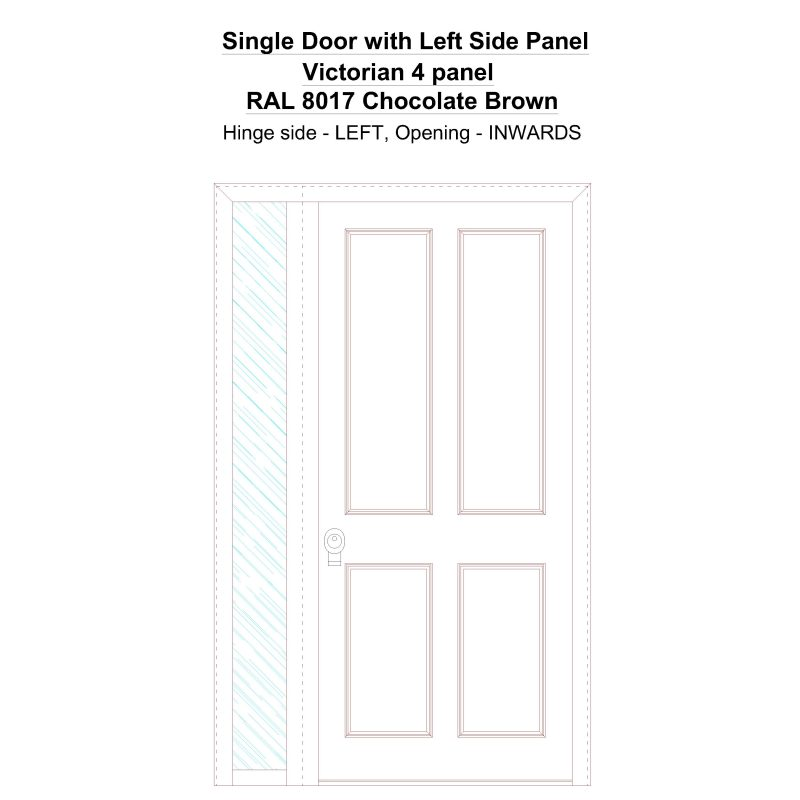 Sd1sp(left) Victorian 4 Panel Ral 8017 Chocolate Brown Security Door
