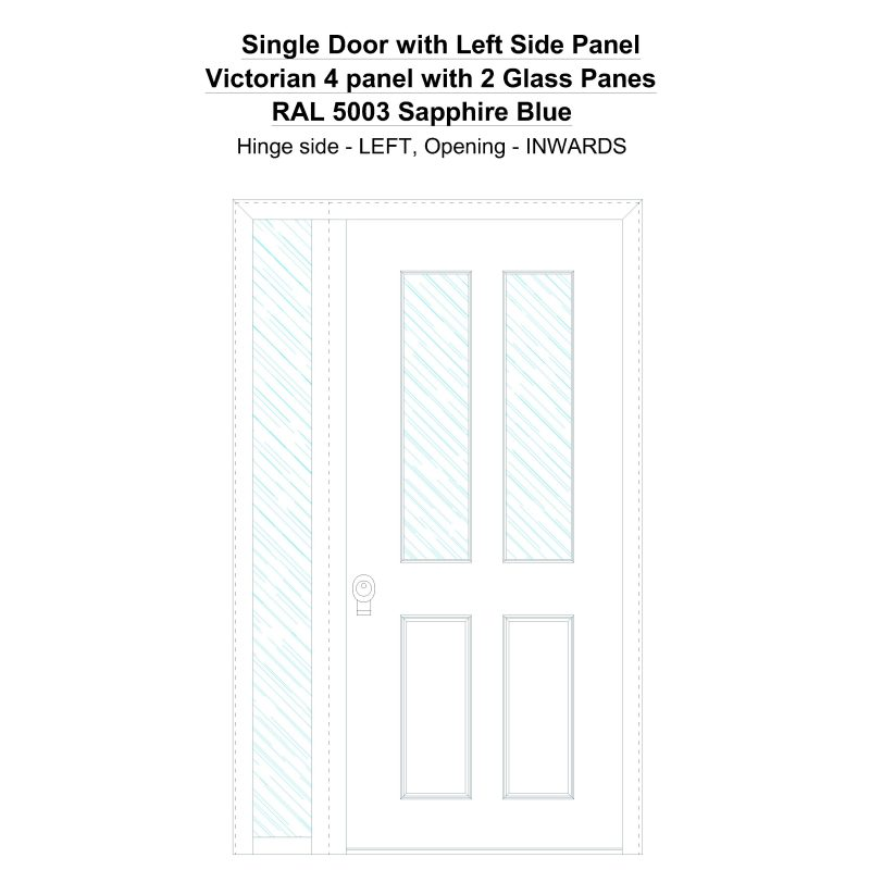 Sd1sp(left) Victorian 4 Panel With 2 Glass Panes Ral 5003 Sapphire Blue Security Door