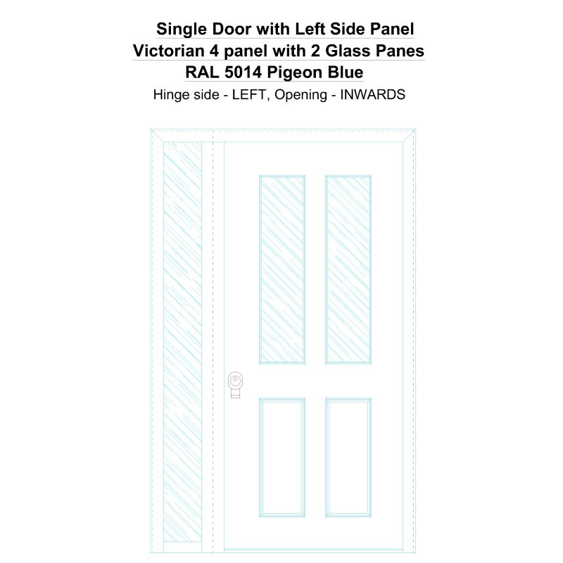Sd1sp(left) Victorian 4 Panel With 2 Glass Panes Ral 5014 Pigeon Blue Security Door