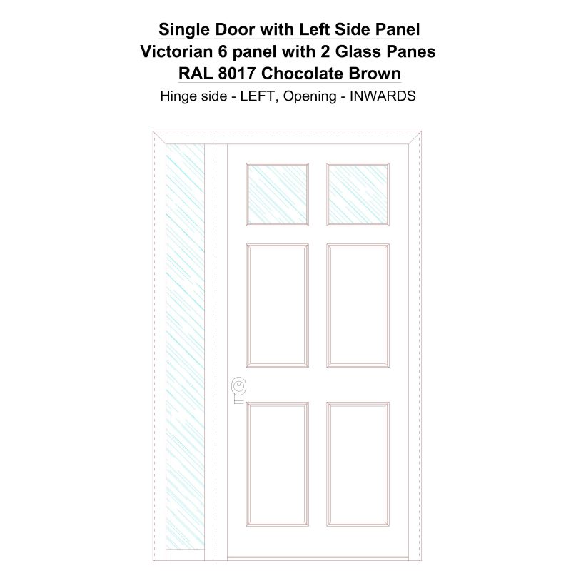 Sd1sp(left) Victorian 6 Panel With 2 Glass Panes Ral 8017 Chocolate Brown Security Door