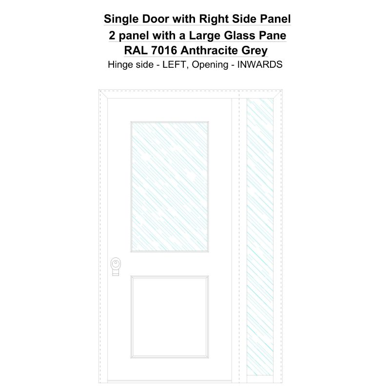 Sd1sp(right) 2 Panel With A Large Glass Pane Ral 7016 Anthracite Grey Security Door