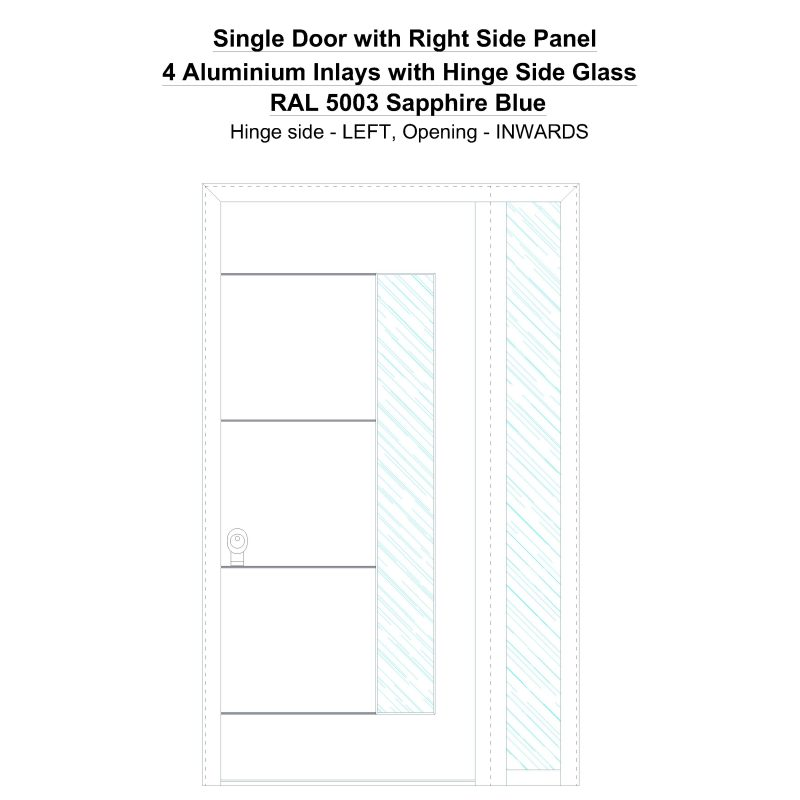 Sd1sp(right) 4 Aluminium Inlays With Hinge Side Glass Ral 5003 Sapphire Blue Security Door