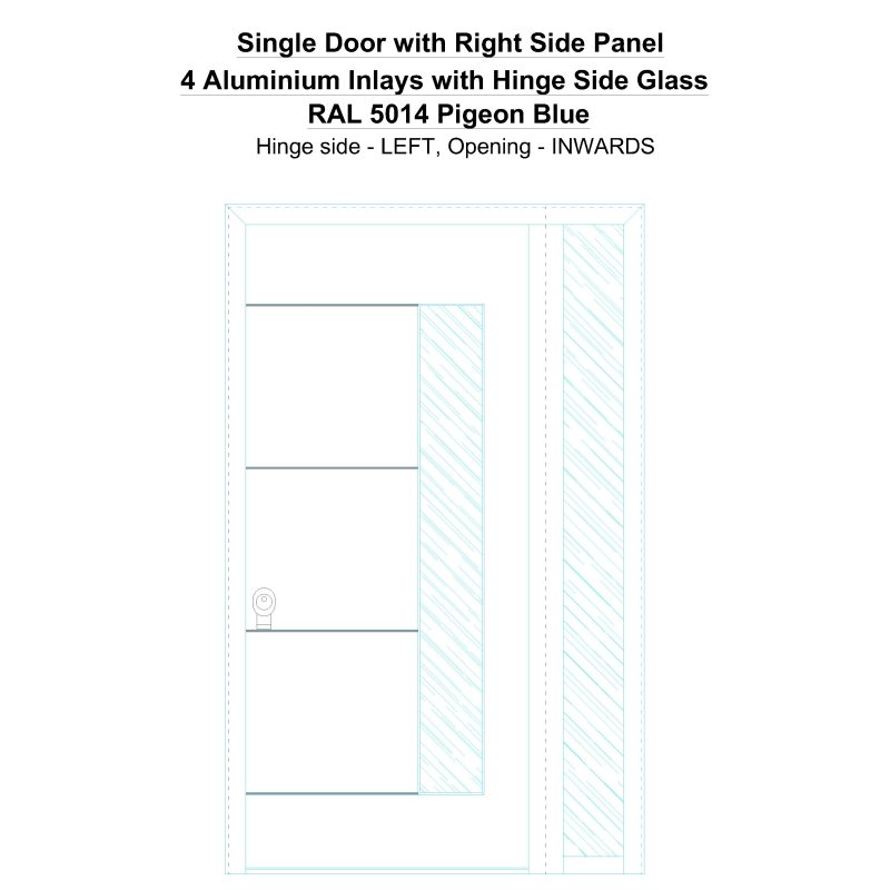 Sd1sp(right) 4 Aluminium Inlays With Hinge Side Glass Ral 5014 Pigeon Blue Security Door
