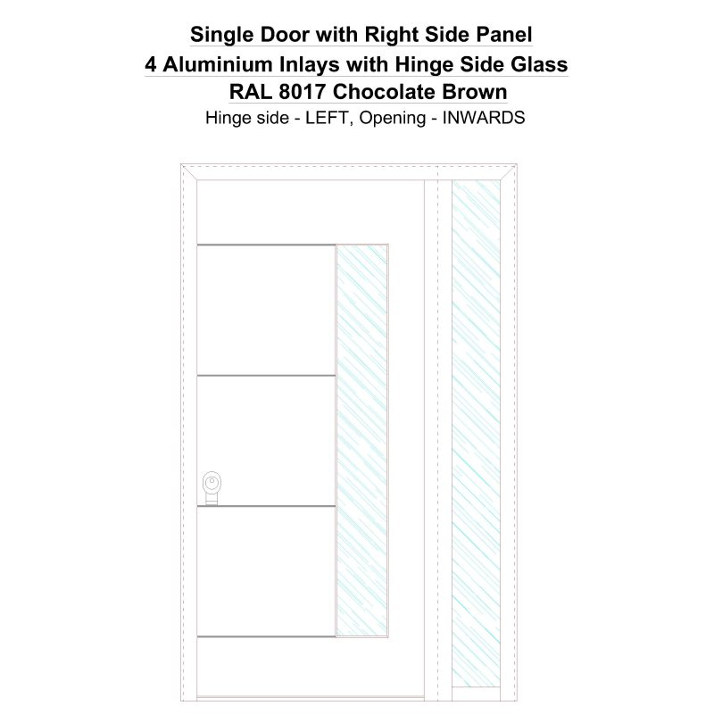 Sd1sp(right) 4 Aluminium Inlays With Hinge Side Glass Ral 8017 Chocolate Brown Security Door